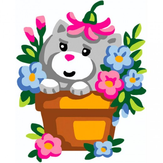 Набор для вышивки Collection D'Art - Kitten In Flowerpot