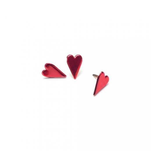 Брадсы Painted Metal Paper Long Hearts - Metallic Red (871097003317)