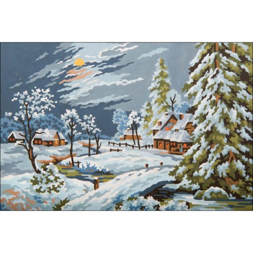 Канва ( страмин ) с рисунком - Needleart World Needlepoint Printed - Moonlight Snow Scene