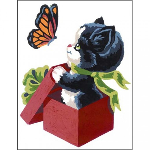 Набор для вышивки Collection D'Art Stamped Needlepoint Kit 20X25cm Kitten And Butterfly