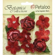 Набор цветов Petaloo Botanica Vintage Velvet Mini Flowers Red (751096841076)