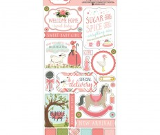 Чипборд Rock-A-Bye Baby Girl Chipboard Accents