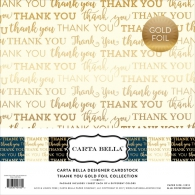 Набор картона Carta Bella Collection Kit 30х30см Thank You W/Gold Foil