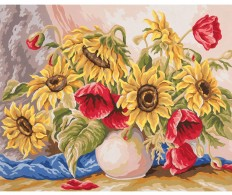 Канва ( страмин ) с рисунком - Collection D'Art Needlepoint Printed Tapestry - Poppies & Sunflowers