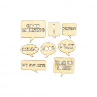Чипборд Yearbook Laser-Cut Wood Veneer Shapes Speech Bubbles Деревянный (814543311550)