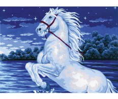 Канва ( страмин ) с рисунком - Collection D'Art Needlepoint Printed Tapestry - White Charger