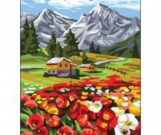 Канва ( страмин ) с рисунком - Collection D'Art Needlepoint Printed Tapestry - Flower GateCollection D'Art Needlepoint Printed Tapestry Canvas  Poppies In The Mountains