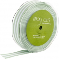 Лента от May Arts - Horizontal Striped Grosgrain - Mint Green