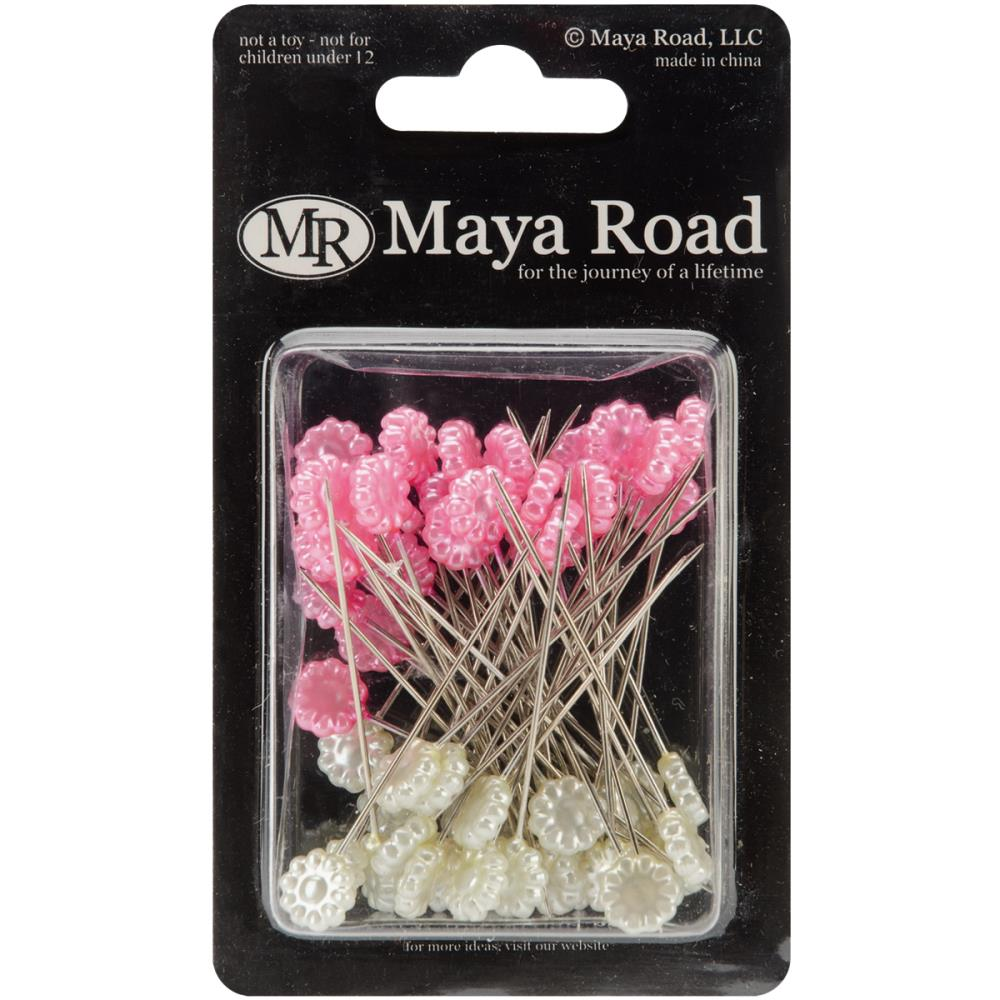 Декоративные булавки Maya Road Flowers Hot Pink & Cream Pearl 25 (TK2213)