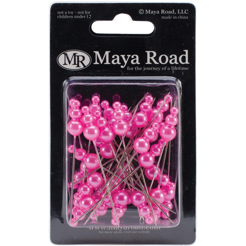 Декоративные булавки Maya Road Flowers Vintage Pearls Hot Pink 2.25 (TK2531)