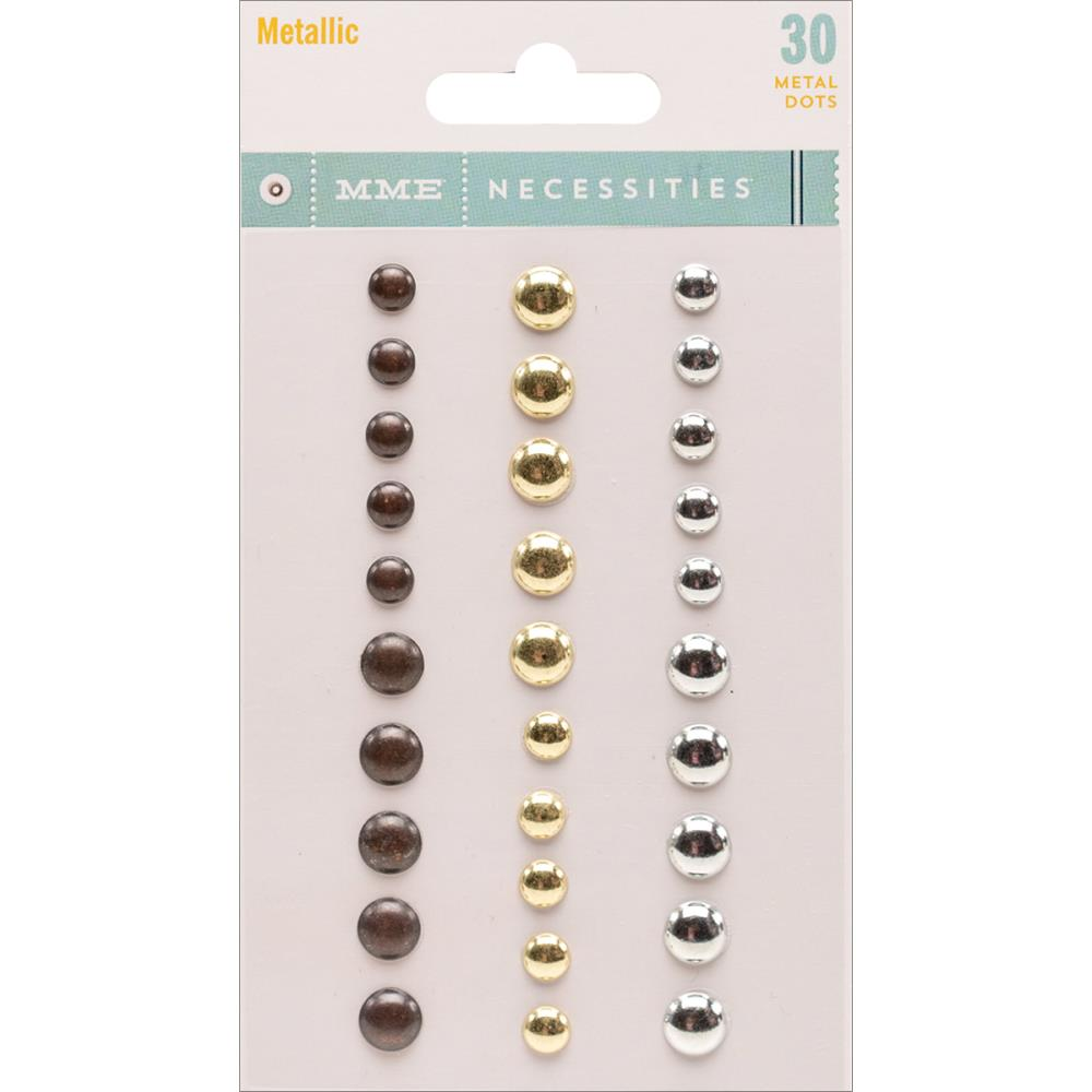 Декоративные точки My Minds Eye Necessities Adhesive Metal Dots 30 шт Metallic (NC1091)