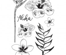 Набор штампов Darkroom Door Cling Stamps, Tropical Flowers
