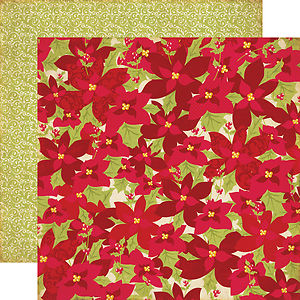 Лист скрапбумаги Echo Park Poinsettias Seasons Greetings Двусторонний 30х30 см (SG21002)