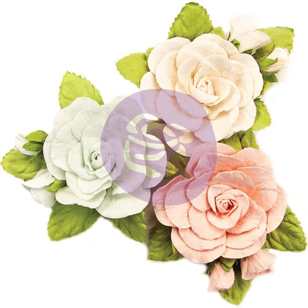 фото Набор цветов Prima Marketing Mulberry Paper Flowers Sweet Roses/Poetic Rose, 3шт