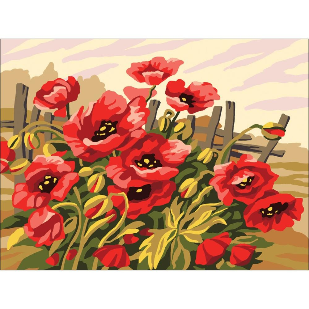 Канва ( страмин ) с рисунком - Collection D'Art Needlepoint Printed Tapestry - Poppies