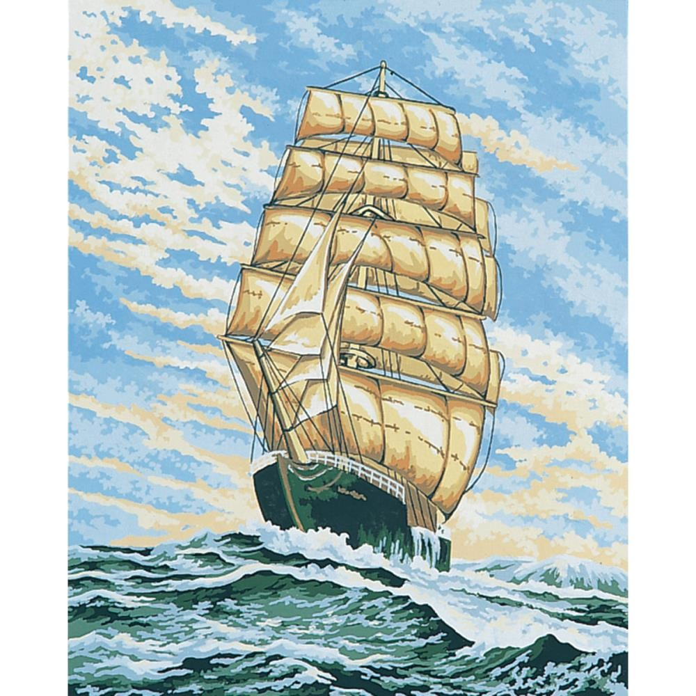 Канва ( страмин ) с рисунком - Collection D'Art Needlepoint Printed Tapestry - Under Full Sail