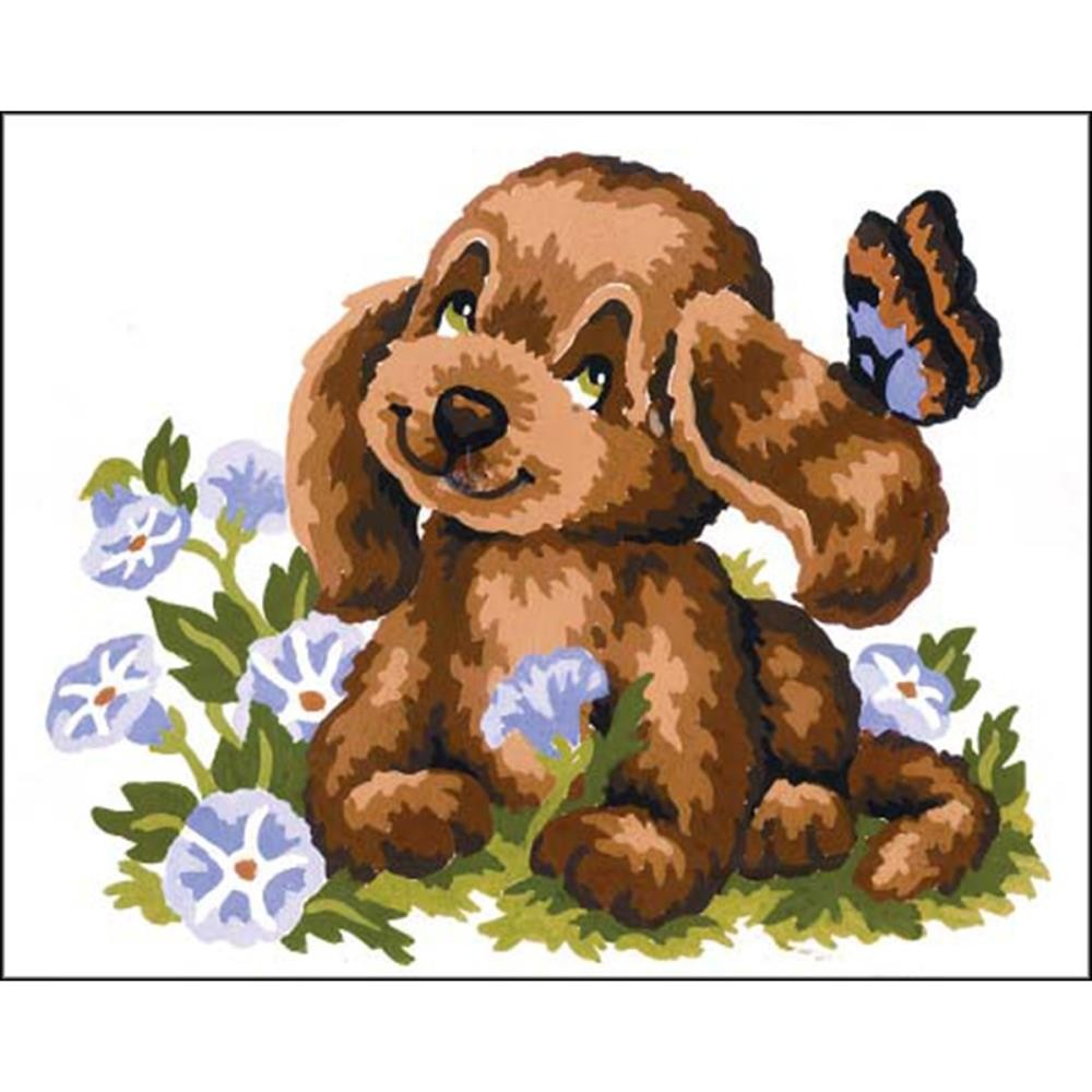 Набор для вышивки Collection D'Art Stamped Needlepoint Kit 20X25cm Puppy And Butterfly